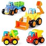 Coogam Push and Go Autos Reibung Angetriebenes Baufahrzeug Frühes Pädagogisches Spielzeug für 1 2 3 Jahre Alte Baby Kleinkinder - Satz von 4 - Traktor-Planierraupe-Betonmischer-LKW und Kipper