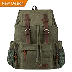 P.ku.vdsl Vintage Canvas Backpack, Genuine Leather Military Rucksack, 17 Inch Retro Laptop Backpack For School Travel Hiking (N-army Green - Large Size)