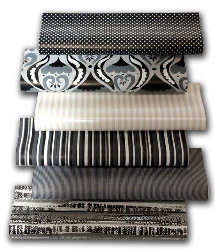 6er Rollen Set Black and White Spezial Edition Schwarz und Weiß Geschenkpapier 200 x 70 cm verschiedene Designs