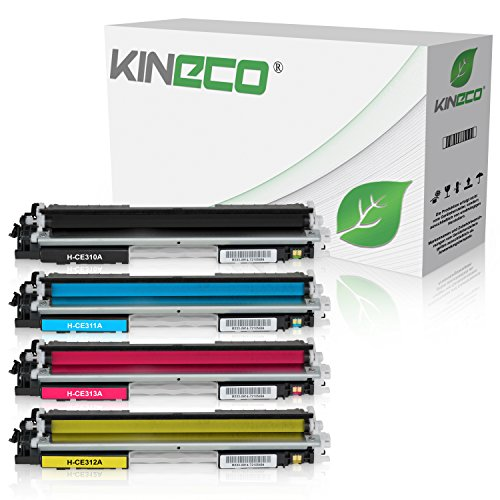 4 Kineco Toner kompatibel zu HP CE310-CE313 Laserjet Pro 100 Color MFP M175, Pro M275, Color Laserjet Pro CP1021, CP1025, CP1028 - CE310A-CE313A - Schwarz 1.200 Seiten, Color je 1.000 Seiten