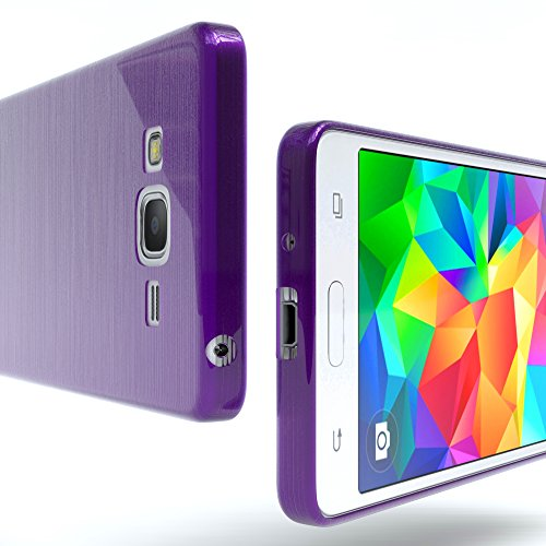 Samsung Galaxy Grand Prime Hülle - EAZY CASE Ultra Slim Cover Handyhülle - dünne Schutzhülle aus Silikon in Transparent Brushed Lila