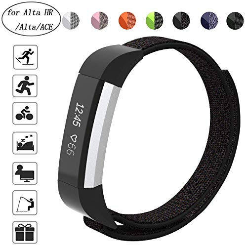 Aspark, cinturino di ricambio compatibile con Fitbit ACE, cinturino regolabile in nylon per Fitbit Ace/Alta HR/Alta Fitness Tracker, perfetto per polso (14-21,1 cm), Black Sand