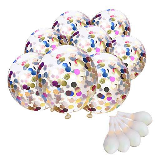TankerStreet 20 Stück Konfetti Luftballons Jumbo Latex Ballon Klar Transparent Ballons mit Bunte Golden Folie Konfetti für Hochzeits Vorschlag Geburtstag Party Dekorationen - Mit Glitzer Luftballons