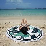 HAPPY ELEMENTS Indische Mandala Runde Roundie Tapisserie Strandtuch Tischdecke Bettwäsche Yoga Mat (Grüne Blätter)