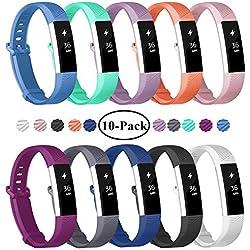 """Bracelets de rechange pour montres de fitness Fitbit Alta et Alta HR de la marque Fundro, bracelets réglables de montres de sport., 10-Pack, Small (6.3""""-7.5"""")"""