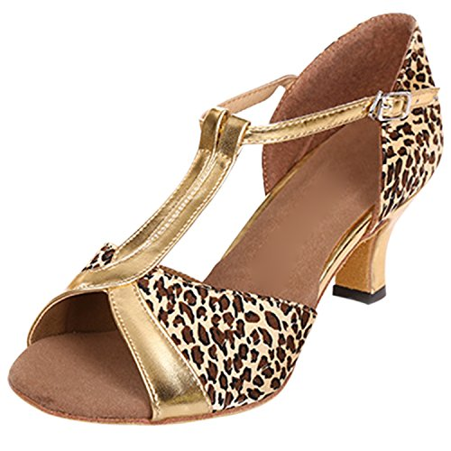 Azbro Women's Peep Toe Mary Jane T-strappy Dancing Shoes Brown