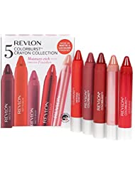 Revlon 5 Colorburst Lip Crayon Collection Red Pink Plum Nude Lipbalm and Lip Stain Chubby Stick Makeup Set