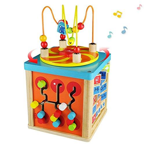 Cubo de Actividades Madera Juego Laberinto Ábaco-Niños-Infantil Juguete con Caja de Música