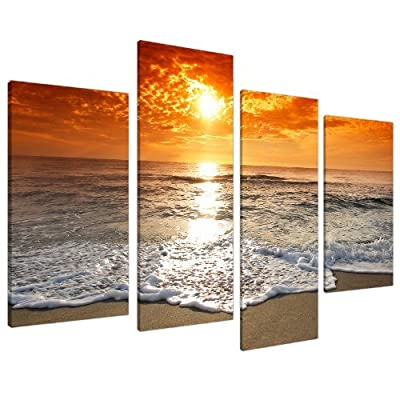 Large Sunset Beach Living Room Canvas Wall Art Pictures Prints XL 4152 - inexpensive UK canvas store.