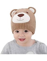 7bc6d3dc9dd1 Happy Cherry Bonnet Bébé Fille Garçon en Hiver Automne Chaud Cartoon  Mignons Ours Beanie Chapeau Crochet Tricot Hat Cap Tour de tête 44…