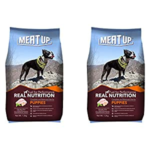 Meat Up Puppy Dog Food, 3 kg (Buy 1 Get 1 Free) & Meat Up Mutton Flavour, Real Chicken Biscuit, Dog Treats -500g Jar…