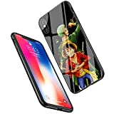 LiangChu 9H Tempered Glass iPhone 7 Plus/8 Plus Cases, LC-55 One Piece Zoro Design Printing Shockproof Anti-Scratch Soft Silicone TPU Cover Phone Case for Apple iPhone 7 Plus/8 Plus