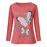 iYmitz Langarmshirts Damen Mode Sommer Langarm Bluse Schmetterling Drucken Baumwoll Tops Oberteile Hemd Shirts T-Shirts(Rot,EU-42/CN-2XL)
