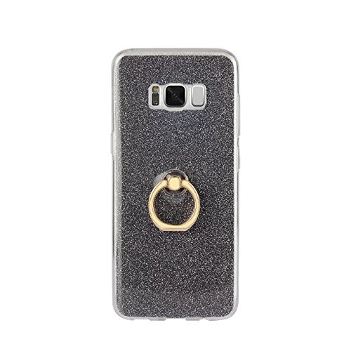 Luxus Bling Sparkle Style Case, Soft TPU [Silikon] Flexible Glitter Back Cover mit Fingerring Stand [Anti Scratch] [Shockproof] für Samsung Galaxy S8 G9500 ( Color : White ) Black
