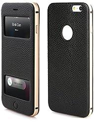 PhoneStar Étui en cuir réel Apple iPhone 6s Plus, iPhone 6 Plus Flip Cover Case Cover en cuir usiné CNC en aluminium métal pare-chocs et la fenêtre en noir