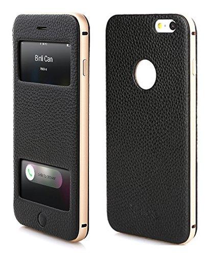 PhoneStar Premium Echtleder Apple iPhone 6 Plus, 6s Plus Flip-Cover mit Sichtfenster Schutzhülle mit CNC gefrästen Aluminium - schwarz