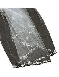 Élégant voile de mariéee en tulle à simple épaisseur sans bordure, avec petites fleurs brodées. Produit offert par NYfashion101.