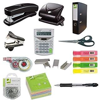 12 tlg. Büroset Locher, Heftgerät, Heftklammern, Textmarker, Schere, Ordner, Korrekturroller, Taschenrechner, Farbe:schwarz