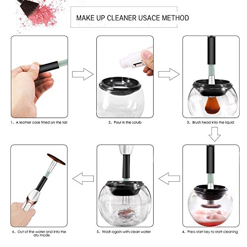 Electric Makeup Brush Cleaner Clean and Ready to Use in 30 Seconds! Premium Deep Cleansing Machine Black and White Rose Gold (Black)
