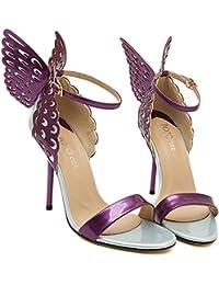 Tacones Altos De Mujer Mariposa Punta Abierta Sexy Zapatillas Correa De Tobillo Sandalias Zapatos De Fiesta De...