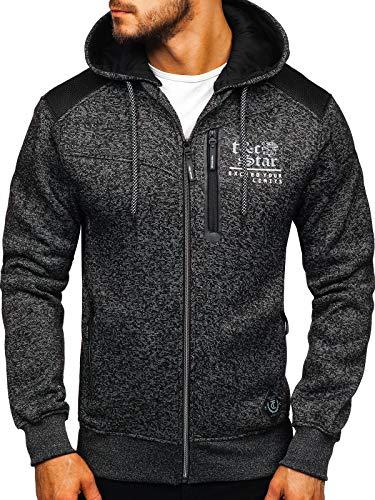 BOLF Herren Sweatshirt mit Kapuze Outdoor Sport Style T&C Star 2095 Schwarz XXL [1A1]