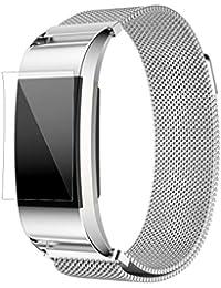 Fitbit Charge 2 Correas,Culater Correa Banda Reloj Acero Inoxidable+HD PelíCula Protector para Fitbit Charge 2 Plata