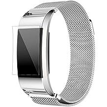 Fitbit Charge 2 Correas,Culater Correa Banda Reloj Acero Inoxidable+HD PelíCula Protector para