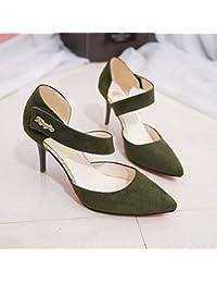 L'Escarpin Chaussures à pointe avec un épais creux Chaussures Sweet et polyvalent, avec le Noir, 35