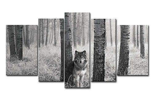 5Tafeln Wand-Kunst Bild Wachsam Wolf Augen In der Wildnis Drucke auf Leinwand Das Tier Bilder Öl Für zu Hause Moderne Dekoration Druckdekor (Tier Leinwand-drucke)