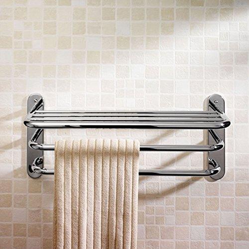 Nuevo Toallero Para Hogar Baño Con Estante Barra Colgador Portatoallas 5 Rieles - Secatoallas en Latón Cromado Fijación Pared - Accesorios Complementos Hudson Reed