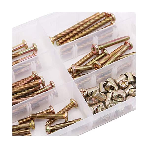Noblik 100Pcs Furniture Crib Bolts with Barrel Nuts Assortment Kit for Furniture, Cots, Baby Beds, Crib 40Mm / 50Mm / 60Mm / 70Mm / 80Mm Noblik hard and sturdy, allow you to use for long time Product Type: High precision M6 hex socket head cap screws bolts and barrel nuts assortment kit Product Feature: A good match between socket cap screws with barrel nuts to make strong joints for your furniture 6