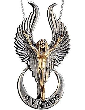 Anhänger Heiliger Engel Engelanhänger teilvergoldet mit Halskette Schmucksäckchen und Karte 04