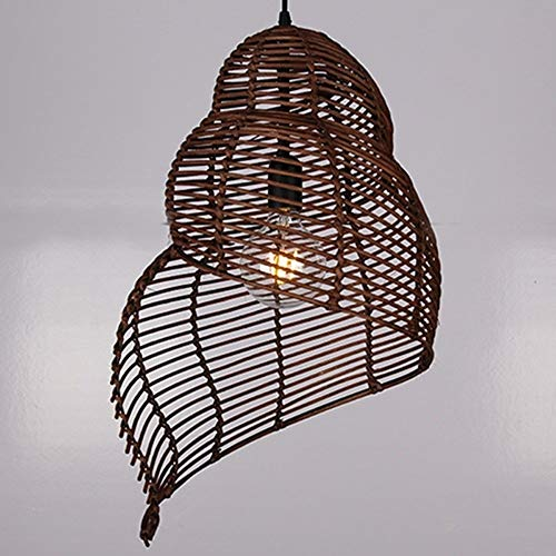 DULG Chinese Creative Spiral Shape Pendant Light Vintage DIY Wicker Rattan Lamp Pendant Lamp Teahouse Dining Room Tropical Natural Bamboo Chandeliers Japanese-style Retro Hanging Light Fixture(Brown)