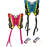 Papillon jumeaux cerfs-volants avec 2Bobines et corde