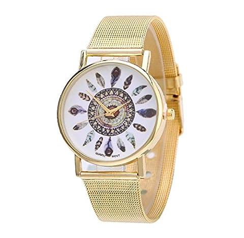 Tongshi Neue Mode Frauen Design Feder Muster Gold Uhren Dial