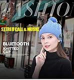 MYGIRLE Bluetooth Beanie Hat Women Knit Hat Cappellino Invernale con Cuffia Senza Fili Cuffie Altoparlante Mic per Corsa Sci Pattinaggio Escursionismo,Blue