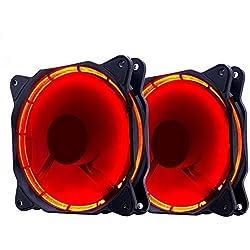 EZDIY-FAB PC 120 Millimetri LED silenziosa Ventilatore di Case, dispositivi di Raffreddamento di Caso, e Radiatori Ultra Silenzioso Elevato Flusso d'Aria Computer Case Fan, 2 Pack-Red