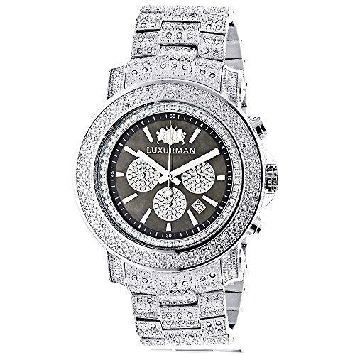 Iced Out Mens Diamond Watch Luxurman 2ct Escalade Oversized w Chronograph
