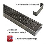 Set 3 x Entwässerungsrinne Edelstahl 1 Meter Superflach V4A stream 2 Rinnen, 1 Rinne mit Ablauf, 4 Verbinder, 1 Schnurwasserwaage