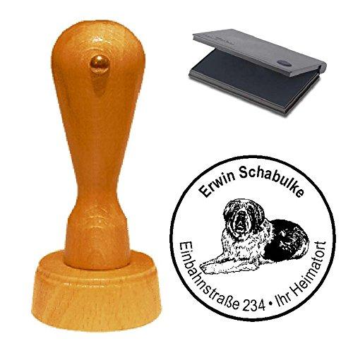 Stempel mit Kissen « BERNHARDINER » Hund Haustier Saint Bernhard