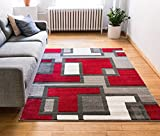 Well Woven Uptown Squares Red & Grey Modern Geometric Comfy Casual Hand Carved Area Rug 120 x 160 cm Easy to Clean Stain Resistant Abstract Boxes Contemporary Thick Soft Plush Living Dining Room