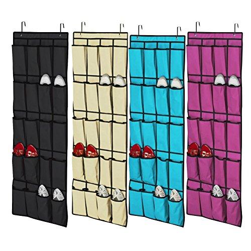 Natural Home - Zapatero con 20 huecos con ganchos para puerta, organizador de zapatos