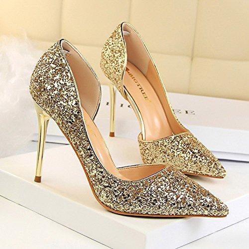 76105567a Beikoard-scarpa da Donna Estremamente Sexy Tacchi Alti Scarpe da Donna  Scarpe con Tacchi Sottili Scarpe da Donna(Oro,37)