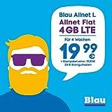 Blau Allnet L (SIM, Micro-SIM und Nano-SIM), ohne Vertragslaufzeit, 4 GB mit LTE, Allnet Flat Min./SMS in alle dt. Netze, EU-Vorteil, 19,99€/4 Wochen, inkl. 20€ Startguthaben, O2 Netz