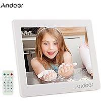 Cornice Foto Digitale Andoer 8 pollici HD 1024 * 768 Widescreen ad alta risoluzione con sveglia MP3 MP4 Video Player con telecomando regalo di Natale