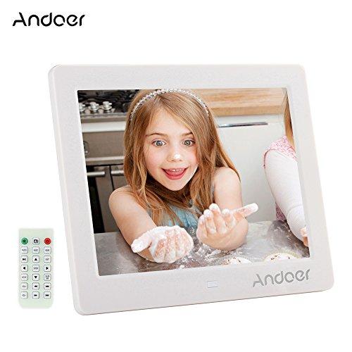 Galleria fotografica Cornice Foto Digitale Andoer 8 pollici HD 1024 * 768 Widescreen ad alta risoluzione con sveglia MP3 MP4 Video Player con telecomando regalo di Natale