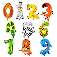 Happy Star® 16 Inch Cute Animals 0 To 9 Numbers Shaped Foil Party Balloons Birthday Anniversary Celebration