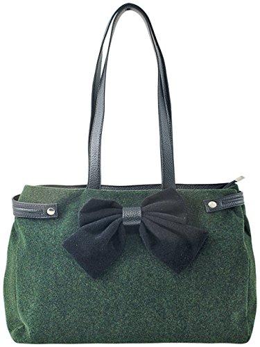 Sunsa Borsa a spalla da donna, 40x 26x 12cm, verde (verde) - 22534 verde