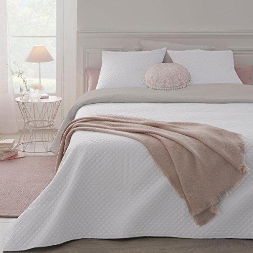 Set aus wattierter Tagesdecke mit 2 passenden Kissenbezügen - weich und gemütlich - große Größe - zweifarbig ( Weiß / Beige) (Wohnungen Grau Plaid)
