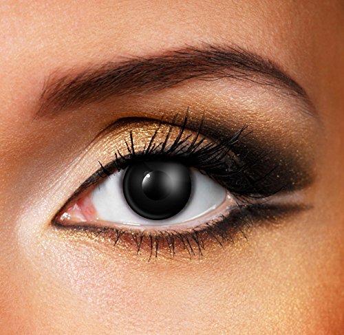Halloween / Karneval / Fasching · BLACK OUT · Kontaktlinsen ohne Stärke (Funlinsen) · ZOMBIE BLACK · 1 JAHR